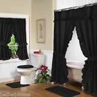 NEW BLACK Double Swag Shower Curtain with Liner & Tiebacks