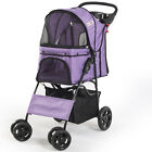 NEW 4-Wheel Pet Stroller Collapsible Top Easy Folding Travel Zip Cover,  6 Color