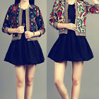 Vogue Outerwear Vintage Ethnic Floral Print Embroidered Short Jacket Coat JR