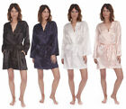 Ladies Womens Sexy Satin Silky Plain Kimono Robe Dressing Gown Night Wear 8-22