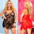 Queen Plus Size Black or Red Lace Mini Dress Lingerie Chemise ML6662X
