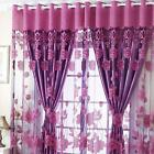 Flowers Pattern Semi Shade Sheer Curtains With Tulle Voile for Door Window