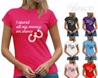 I SPEND ALL MY MONEY ON SHOES HORSE RIDING WOMENS LADIES T-SHIRT TSHIRT