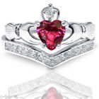 Heart Irish Celtic Ruby Claddagh Wedding Engagement Silver Two Ring Set