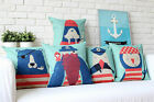 "Colorful Sailor Animal Pillow Case Sofa Decor Cushion Cover Square 17""/20.87"""