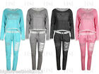 New Womens Ladies Marl Crop DIAMANTE LOVE Print Loungewear Tracksuit Joggers