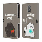 CEILING CAT VS BASEMENT CAT LEATHER BOOK CASE FOR SAMSUNG GALAXY S5 S5 NEO