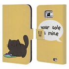 HEAD CASE CEILING CAT VS BASEMENT CAT LEATHER BOOK CASE FOR SAMSUNG GALAXY S2 II