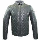 Armani Jeans Mens Genuine Sheep Leather Quilted Bomber Jacket B6B26 MB 12 Black