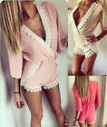 New fashion women's V-neck floral print lace splicing playsuit shorts jumpsuit