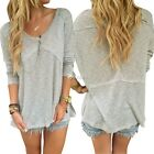 Fashion Women Casual Knitted Long Sleeve Side Slit Loose Blouse Tops DZ88