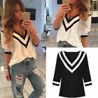 Sexy Women Ladies V-neck Chiffon Long Sleeve Casual Blouse Loose Tops T-Shirt