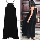 2016 Women Chiffon Casual Spaghetti Strap Pleated Loose Long Maxi Dress N98B