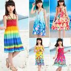 Summer Baby Girls Kids Cotton Bohemian Backless Dress Sundress Beach Dress AS