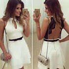 New Sexy Fashion Womens Black Lace and White O Neck Backless Evening Party Dress
