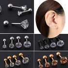 1/2PC Cartilage Tragus Bar Helix Upper Ear Earring Stud with Gem Stainless Steel
