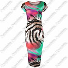 NEW WOMENS MULTICOLOUR ANIMAL MIDI DRESS STRIPE TIGER PRINT LADIES BODYCON LOOK