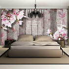 Photo Wallpaper DECOUPAGE MAGNOLIA AND WOODEN PLANKS  Wall Mural (3352VE)