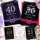 Birthday Party Invitations · 18th 21st 30th 40th 50th · Personalised Invites