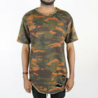 EPTM Long Extended Men's Distressed Rip Short Sleeve T Shirt - Size S~2XL