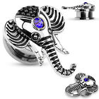 One Pair Steel Elephant w/Sapphire Blue Gem Top Screw Fit Hollow Plugs Tunnels