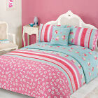 Verity Pink Green Duvet Quilt Set Bed in a Bag Cushion Cover Runner
