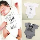 Newborn Boys Girls Bowtie Quote Romper Bodysuit Outfits Clothing Lovely T shirts