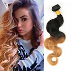 "14""-28"" Brazilian Virgin Body wave Ombre Human Hair Extesions Weft 50g #1B/27"