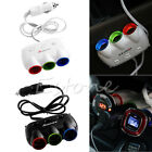 3Way LED Car Socket Cigarette Lighter Splitter 2 USB Power Charger Adapter DC12V