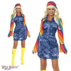 FANCY DRESS COSTUME # LADIES 1970's GROOVIER DANCER DENIM HIPPY GIRL 8-18