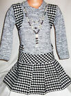 GIRLS LIGHT GREY BLACK DOG TOOTH PATTERN SHRUG WINTER PARTY DRESS with NECKLACE
