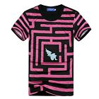 New Women's/Men's red labyrinth Casual 3D Print Short Sleeve Round Tee T-Shirt