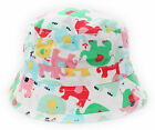 Baby Kids Boys Girls White Colourful Elephants Summer Bucket Sun Hat Age 1 to 8