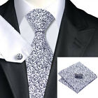 100% Silver & Black Silk Tie, Pocket Square & Cufflink Set For Weddings, Proms