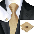 100% Gold Silk Tie, Pocket Square & Cufflink Set For Weddings, Formal Occasions