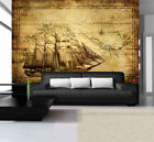 Photo Wallpaper VINTAGE ANTIQUE STYLE PRINT SHIP ON THE MAP Wall Mural (022VE)