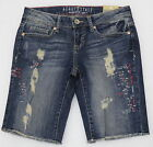 "AEROPOSTALE BERMUDA SHORTS DENIM BLUE JEAN DISTRESSED RAW EDGE HEM 9"" INSEAM NEW"