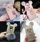 Cute Luxury Bing Diamond Crystal Ears Soft Clear Strap Lanyard Phone Case Cover