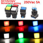 DC 24V 16mm Square Momentary Push Button Switch Self-Lock With LED Light