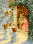 Cute Bunnies Snow Day Beautiful Tapestry Printed Needlepoint Canvas 021