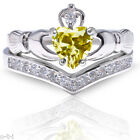 Citrine Claddagh Heart Simulated Diamond Celtic Sterling Silver Ring Set