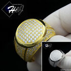 925 STERLING SILVER LAB DIAMOND GOLD/SILVER FULL ICED OUT BLING ROUND RING*GR53