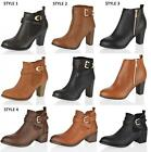 WOMENS LADIES BLOCK HIGH MID LOW HEEL ZIP ANKLE BOOTS BLACK TAN SHOES SIZE