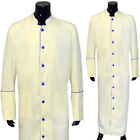Clergy Robe Solid Cream Blue Piping Cassock Full Length Preacher Retail $200