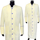 Clergy Robe Solid Cream Blue Piping Full Length Preacher Retail $200
