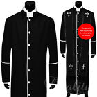 Clergy Robe Solid Black White Piping Full Length Preacher Retail $200