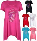 Womens New Diamante Lips Ladies Short Sleeve Uneven Long T-Shirt Top Plus Size