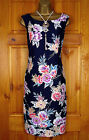 NEW LAURA ASHLEY NAVY BLUE RED YELLOW WHITE PURPLE FLORAL SUMMER SHIFT DRESS UK8