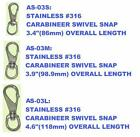 316 stainless steel swivel snap clip. 3 sizes