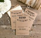 Bunting Wedding Invitation, RSVP & Additional Information Set A6 Postcards + Env